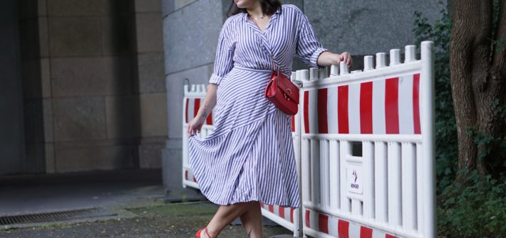 Anna Curve Wrap Dress Stripes 038 Red Details file name