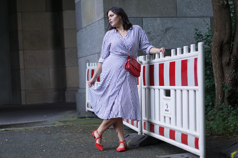 Wrap Dress, Stripes & Red Details