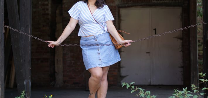 Anna Curve Denim skirt wrap top 038 vintage MCM file name