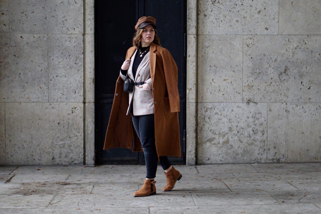 Wool coat, blazer & belt bag