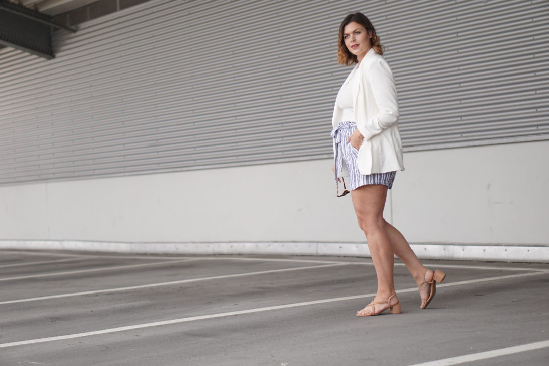 White Blazer & Linen Shorts